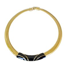 Trifari Choker Necklace Black Enamel Signed Trifari with T Crown