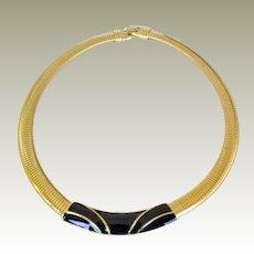 Trifari Choker Necklace Black Enamel Signed Trifari with T Crown
