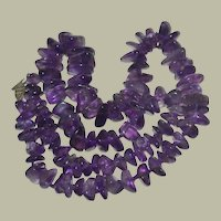 Necklace Amethyst Hand Knotted Polished Nugget Beads