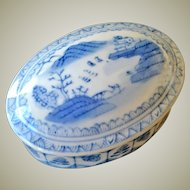 Chinese Box Blue and White Oval Porcelain