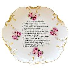 Porcelain Wall Plate Ten Commandments