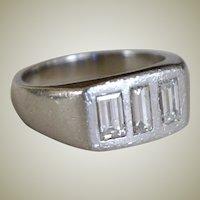 Platinum Diamond Emerald Cut Ring