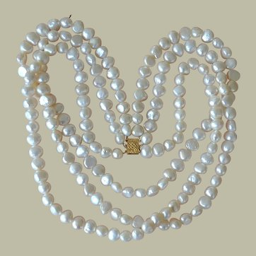 Necklace Freshwater Pearls 14K Three Strands