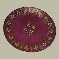 Toyo Pottery Plate Deep Wine Heavy Raised Gold and Enamel