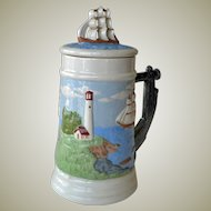 Stein or Tankard Lighthouse and Schooner Seascape