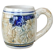 Vintage Pottery Mug Cup with Raised Stein Like Pattern