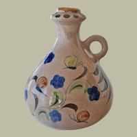Mexican Pottery Jug  Hand Painted Butterflies Signed