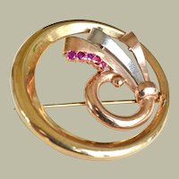 Bailey Banks Biddle Rubies Tricolor 14K  Gold Brooch Pin