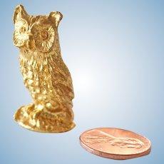 Miniature Metal Owl Figurine