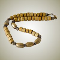 Necklace Brass and Shell Beads Natural Colors