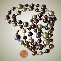 Necklace Large Iridescent Peacock Color Beads