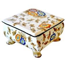 Calf Faenza Majolica Vanity Box Small Covered Dish Italy