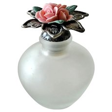 Frosted Glass Scent Perfume Bottle Porcelain Sculpted Roses