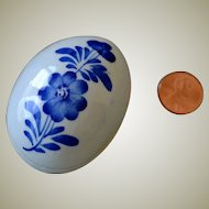 Miniature Blue and White Porcelain Egg Box Hand Painted
