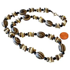 Necklace Earth Color Beads with Eye Like Ovals