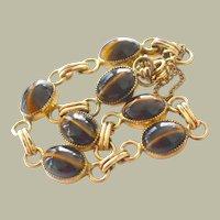 Vintage Carla Tiger Eye Bracelet Gold Fill