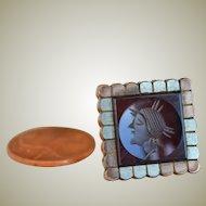 Antique Carnelian Intaglio Stud Button Lapel Pin Clover Horseshoe Mark