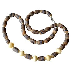 Necklace Glass Multicolor Trade and Bone Beads