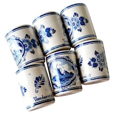 Delft Liquor Cups Windmills Set of Six Blue and White