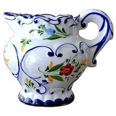 Pitcher Signed Portugal Hand Painted Flowers Scrollwork
