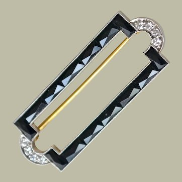 Deco Bar Pin 14k Gold Diamonds Faceted Onyx