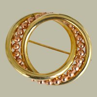 Circle Pin Brooch 14k Yellow and Rose Gold