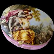 Porcelain Trinket or Jewelry Box Romantic Couple Scene