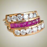 Three Band Diamond and Ruby Harem Ring 14K Rose Gold