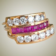 Three Band Diamond and Ruby Harem Ring 14K Rose Gold