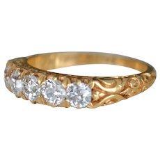 Antique 18K Gold Ring Five European Cut Diamonds 1886