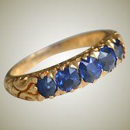 Antique 18K Gold Ring Five Blue Sapphires 1886