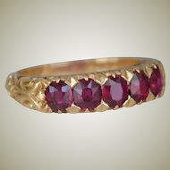 Antique 18K Gold Ring Five Rubies 1890