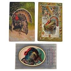 Three Thanksgiving Embossed Postcards with Turkeys
