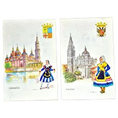 Two Postcards Heavily Embroidered Spain