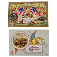 Two Patriotic Thanksgiving Embossed Postcards