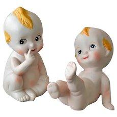 Pair Kewpie Babies Bisque Porcelain