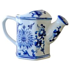 Vintage Chinese Watering Can Pitcher Blue and White