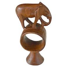 Elephant Wood Figurine Napkin Holder Hand Carved