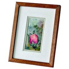 Small Painting Single Rosebud Watercolor