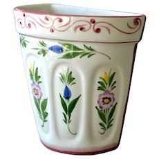 Porcelain Wall Pocket Hand Painted Floral Portugal