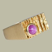 Ring 14K Gold Pink Star Sapphire 6.8 Grams
