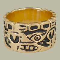 Ring 14k Gold Thick Wide Cigar Band Ring Raised Design Black Accent