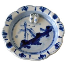 Delft Ashtray with Dutch Clogs Blue and White Windmill