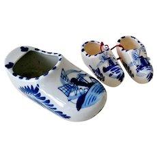 Delft Blue and White Delft Dutch Porcelain Clogs Shoes