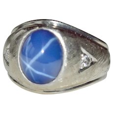 Ring Synthetic Star Sapphire with Diamonds 14k White Gold