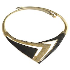 Collar Necklace Black Enamel Gold Tone Snake Chain