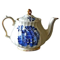Small Sadler Blue White Willow Teapot Vintage Tea Pot