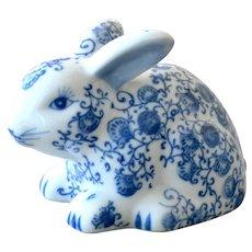 Porcelain Rabbit Figurine Blue and White Vintage China