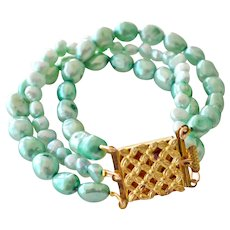 Bracelet Cultured Freshwater Pearls Brass Clasp