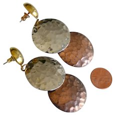 Vintage Earrings Copper Gold and Silver Tone Hammered Disks